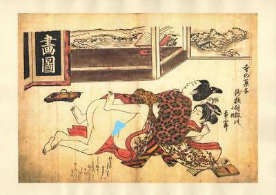 Japanese Reproduction Woodblock Print Shunga Style A69 Erotic A4 Parchment Paper