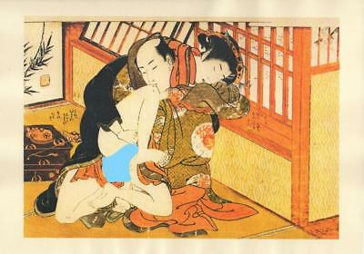 Japanese Reproduction Woodblock Print Shunga Style A74 Erotic A4 Parchment Paper