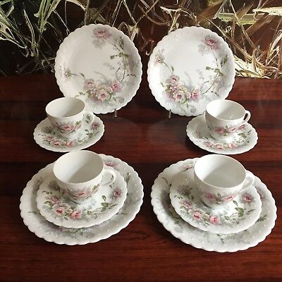 GEORGES BOYER France VIEUX LIMOGES, 4 edle Kaffeegedecke