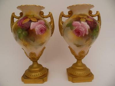 A Fine Pair Of Royal Worcester Hadley Roses Vases Dated 1919