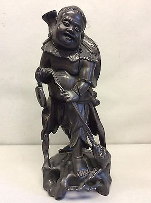 """Japanese/Chinese Carved Wooden Statue 14.25"""""""