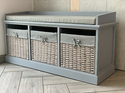 Vintage Wooden Storage Unit Bench Seat Shabby Chic Drawers Cushion Wicker