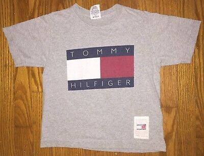 VTG 90s KIDS Tommy Hilfiger Spellout Flag T Shirt Rare Hard To Find Youth Size 6