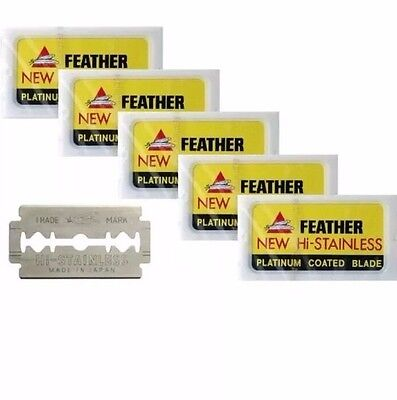 Feather Double Edge Razor Blades Japanese Hi-Stainless, Pack Of 50 - Aus Seller