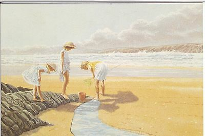 ROSAMUNDE PILCHER W H Smith advertising p/card The Shell Seekers children beach