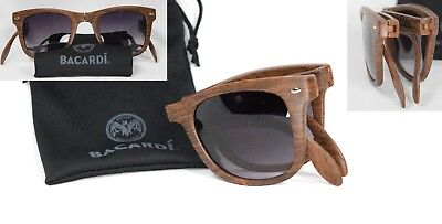 Bacardi Rum Sunglasses Woodgrain Fold Up Brown Promotional Promo Compact Glasses