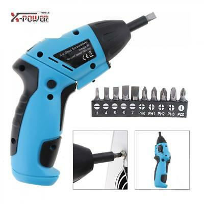 Mini 6V Battery Operated Cordless Electric Screwdriver Driver Bits Drill+Charger