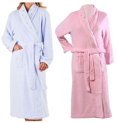 21287a50f3 Slenderella Ladies Soft Fleece Shawl Collar Wrap Bathrobe Floral Dressing  Gown