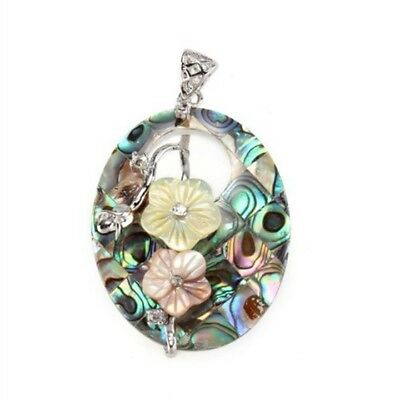 "Oval Hollow Flowers Paua Abalone Shell Pendant Bead 2x1.4"" S5Q7"