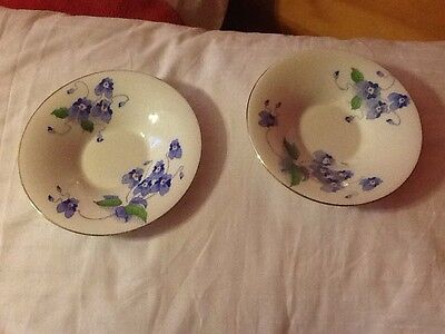 Two Colclough 4212 Blue Floral Saucers Bone China
