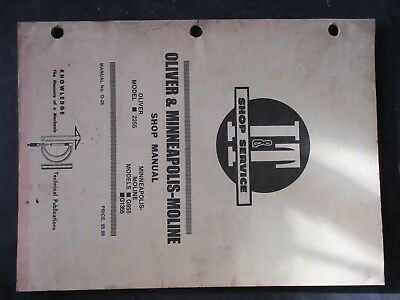 G955 MINNEAPOLIS MOLINE Tractor Technical Service Shop Repair Manual on