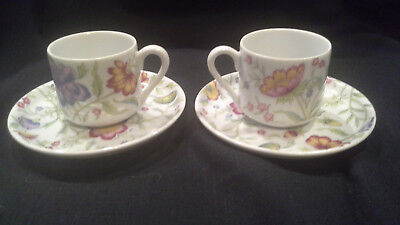 pair of Toscany Avignon floral ceramic espresso demitasse cup and saucer set