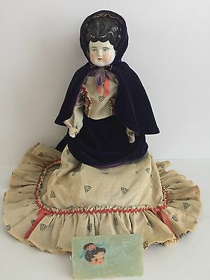"""ANTIQUE CHINA HEAD BLACK MOLDED HAIR DOLL w/Stand 16"""""""