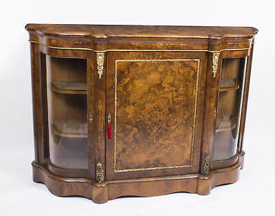 Antique Victorian Burr Walnut Inlaid Ormolu Mounted Credenza c.1860