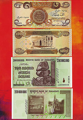 1 x 1000 Iraq Dinar Banknotes UNC + 1 x 200 Million Zimbabwe Dollars AA 2008 Set