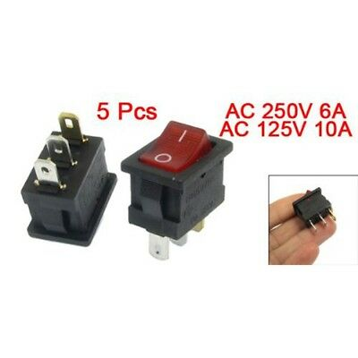 5 pcs Red Light IllumInated ON/OFF 2 Position SPST Boat Rocker Switch 3 Pin H2R6