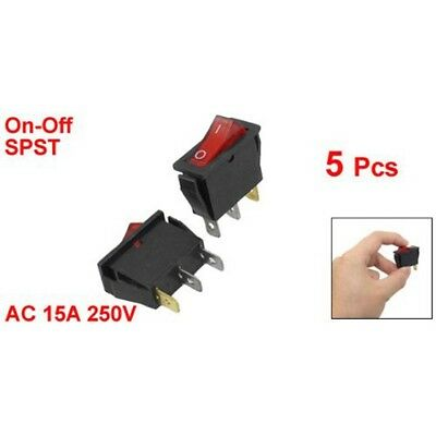 5 pcs Red IllumInated Light On/Off SPST Boat Rocker Switch 15A 250V AC Y6F6