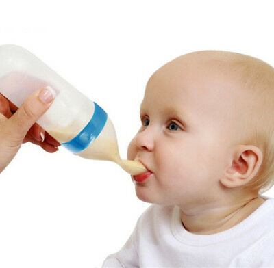 Baby Silicone Squeeze Feeding Bottle With Spoon Food Rice Cereal Feeder 90ML New
