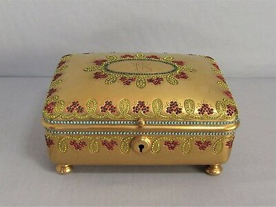 Antique French Bronze Jewelry Box With Crystal Decoration