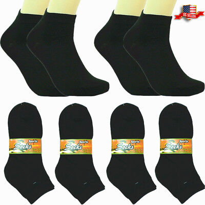 6-12 Pairs Fashion Cotton Women Girls Ankle School Casual Socks Size 9-11 black