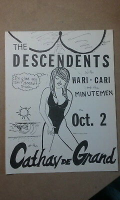 1980's original Punk Rock concert flyer, Descendents, Minutemen, Hari Kari