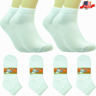 6-12 Pairs Fashion Cotton Women Girls Ankle School Casual Socks Size 9-11 white