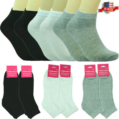 6-12 Pairs Fashion Cotton Women Girls Ankle School Casual Socks  9-11 plain mix