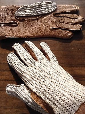 Vintage Tan Leather & Beige Cotton Mesh Driving Gloves Ladies Medium, Size 7