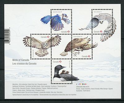 Canada 2017 MNH Birds of Canada Ospreys Birds of Prey Owls Loons 5v M/S Stamps