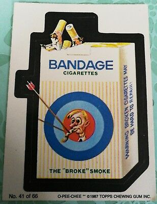 Wacky Packages 1987 Topps Bandage Cigarettes Card #41 OPC O-PEE-CHEE