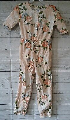 Old Navy Girls size 5 romper jumpsuit pink floral pants outfit one piece button