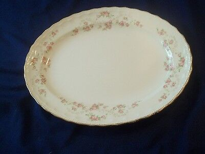 "Pope Gosser  "" FLORENCE ""  Pink Rose Oval Platter :  { 11 x 8 1/2 Inch}"