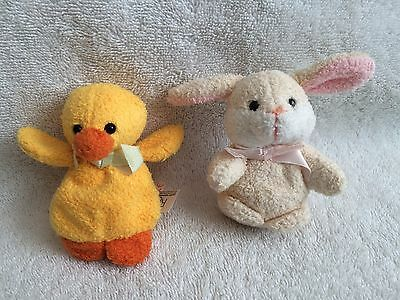 """Easter Chick & Bunny 3 1/2"""" SUPER SOFT Plush! By Russ w/Tags Attached!  NEW!"""