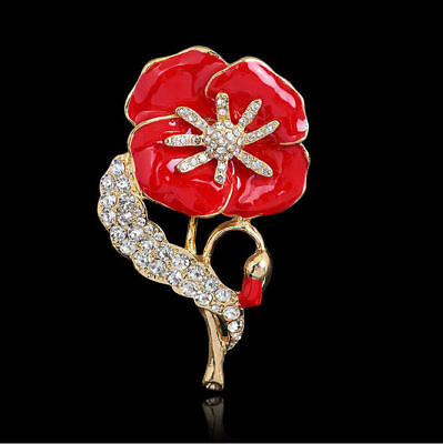 Red Flower Crystal Poppy Pin Brooch Diamante Badge Banquet Remembrance Gift