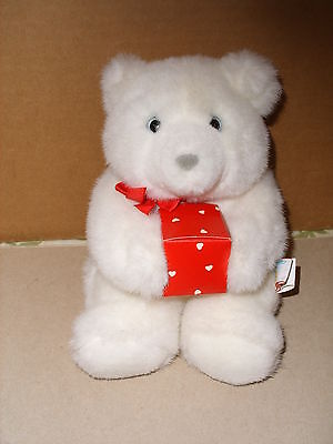 Vintage 1989 Hallmark White Teddy Bear HOLDING RED HEART GIFT BOX 9 IN