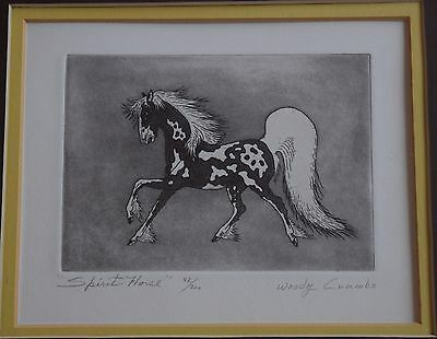 "Woody Crumbo Native Potowatomi limited edition, signed ""Spirit Horse"" etching"
