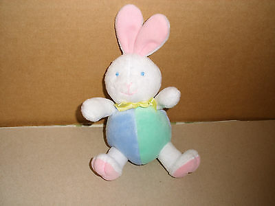 Eden Toys Plush Stuffed Bunny Rabbit Rattle Toy Blue Green Pink 6 In