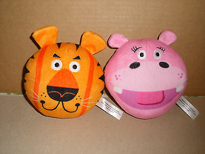 Ere Plush Stuffed Round Bean Bag Hippo And Lion Lot 5 In