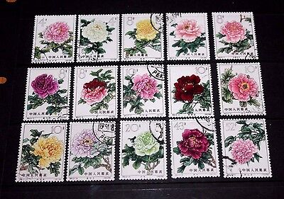 China 1964 Peonies Flowers Set Of 15 Very Fine Cto,full Gum Vl/h