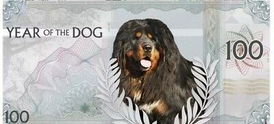 2017 MONGOLIAN LUNAR YEAR OF THE DOG Silver NOTE Coin - 100 Togrog.