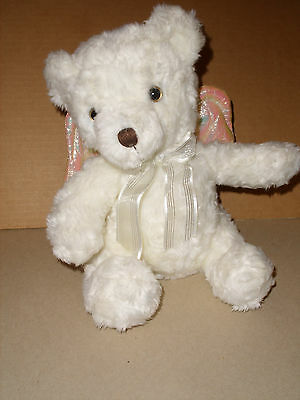 Avon Plush Praying Bedtime Prayer Now I Lay Me Down To Sleep Bear W/ Wings 2001