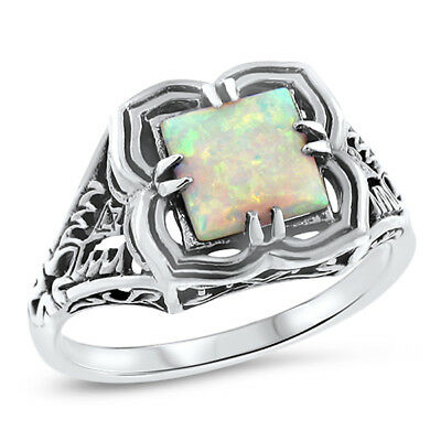 Antique Victorian Style 925 Sterling Silver Lab Opal Ring Size 7.75,        #721