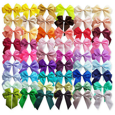 6pcs Large 90mm Satin Ribbon Bows Craft Embellishments Wedding Card Decoration