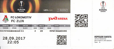 Lokomotiv Moscow - FC Zlin Czech 28/09/2017 UEFA Europa League used ticket