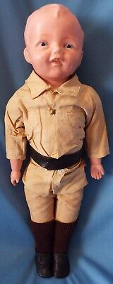 """Antique Horsman 1917 ROOKIE 16"""" Composition Doll in Original Outfit Policeman"""