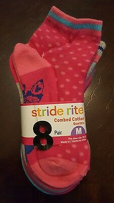 NWT Girls Stride Rite 8 Pairs Combed Cotton Size Medium 10-13 Quarter Socks