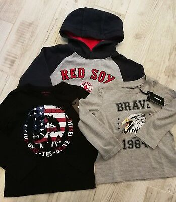 Size 4T Boys Clothing Lot Boston Red Sox Pullover Sweater New Diesel Shirt (B3)