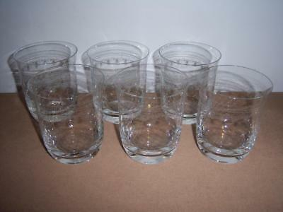 6 x PALL MALL / LADY HAMILTON FLARED WHISKY TUMBLERS (ENGRAVED ETCHED DESIGN)