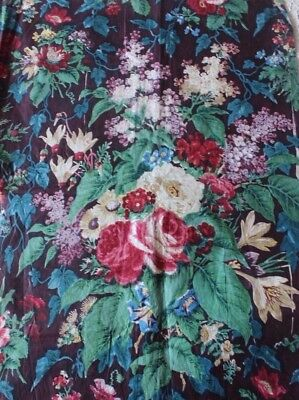 "Stunning French Antique Rose Bouquet Chintz Fabric Sample c1860-1870~22""L X 31""W"