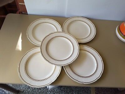 Art Deco Dinner Plates X 5  Alfred Meakin Cream Gold  Trim England 1930's